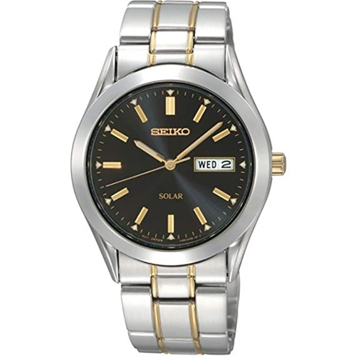 Seiko Solar Powered Watch SNE047P9 sort urskive  Herreur